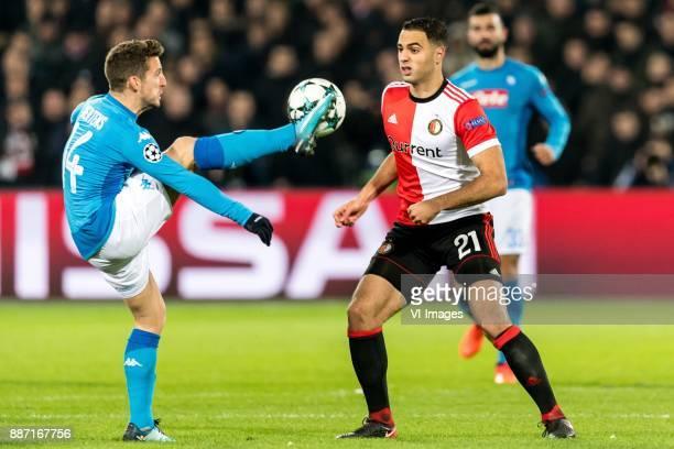Dries Mertens of SSC Napoli Sofyan Amrabat of Feyenoord during the UEFA Champions League group F match between Feyenoord Rotterdam and SSC Napoli at...