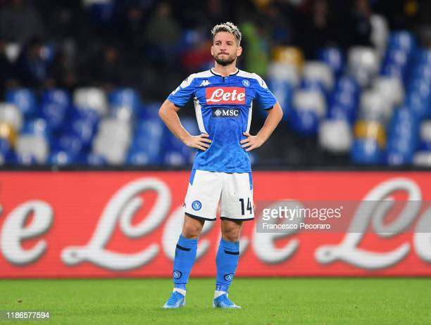 Dries Mertens of SSC Napoli stands disappointed during the Serie A match between SSC Napoli and Genoa CFC at Stadio San Paolo on November 09 2019 in...