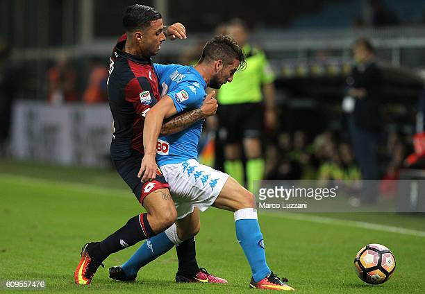 Dries Mertens of SSC Napoli tangles with Armando Izzo of Genoa CFC during the Serie A match between Genoa CFC and SSC Napoli at Stadio Luigi Ferraris...