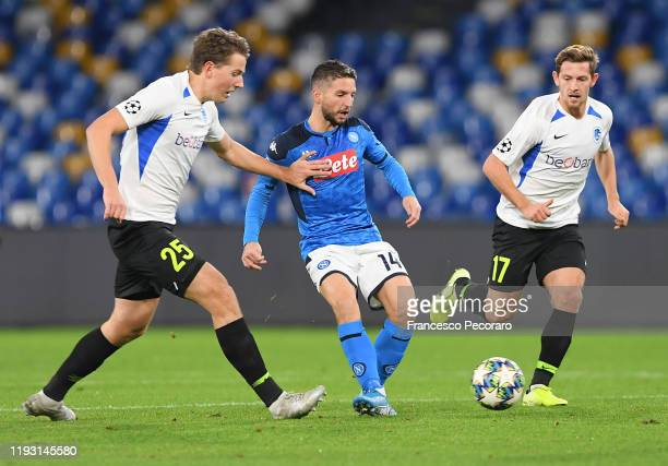 Dries Mertens of SSC Napoli vies with Sander Berge and Patrik Hrisovsky of KRC Genk during the UEFA Champions League group E match between SSC Napoli...