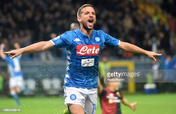 Dries Mertes of Napoli celebrates after scoring 21 during the Serie A match between Genoa CFC and SSC Napoli at Stadio Luigi Ferraris on November 10...
