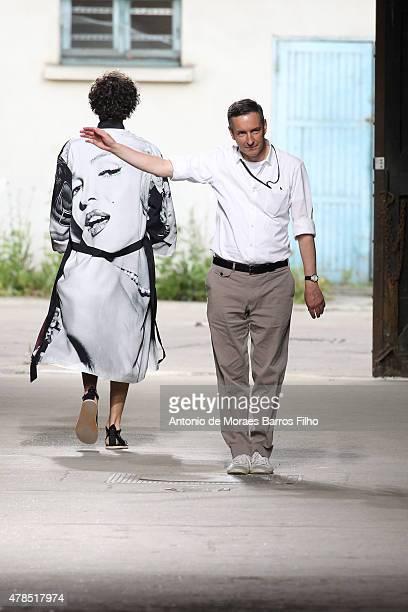 Dries Van Noten walks the runway during the Dries Van Noten Menswear Spring/Summer 2016 show as part of Paris Fashion Week on June 25 2015 in Paris...