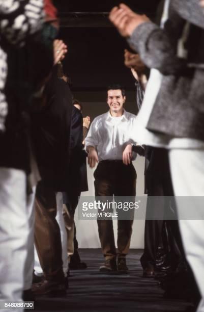 Dries Van Noten walks the runway during the Dries Van Noten Menswear Fall/Winter 19921993 show as part of Paris Fashion Week on January 1992 in Paris...
