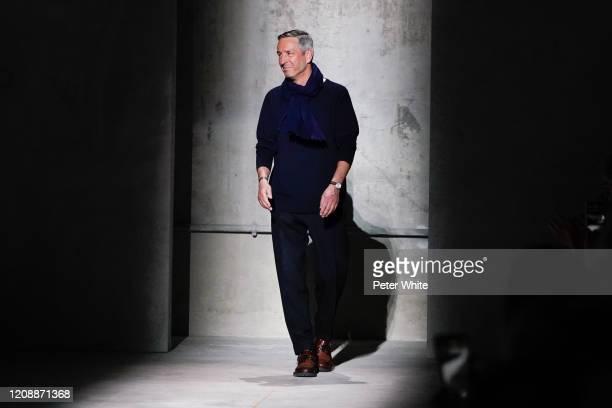 Dries van Noten walks the runway during the Dries Van Noten show as part of the Paris Fashion Week Womenswear Fall/Winter 2020/2021 on February 26,...