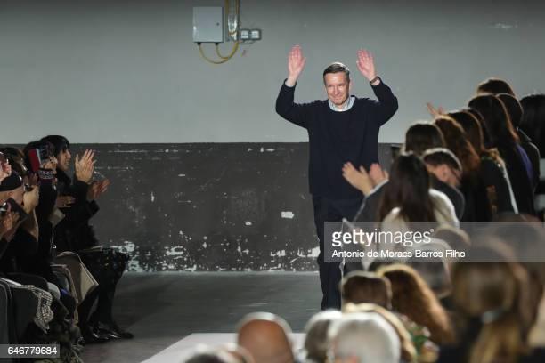Dries Van Noten walks the runway during the Dries Van Noten show as part of the Paris Fashion Week Womenswear Fall/Winter 2017/2018 on March 1 2017...