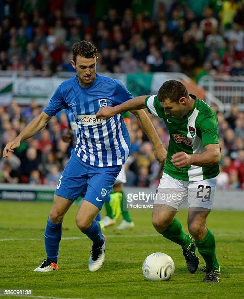 Dries Wouters defender of Krc Genk and o4 Sullivan pictured during UEFA Europa League third qualifying round 2nd Leg match between Cork City FC and...