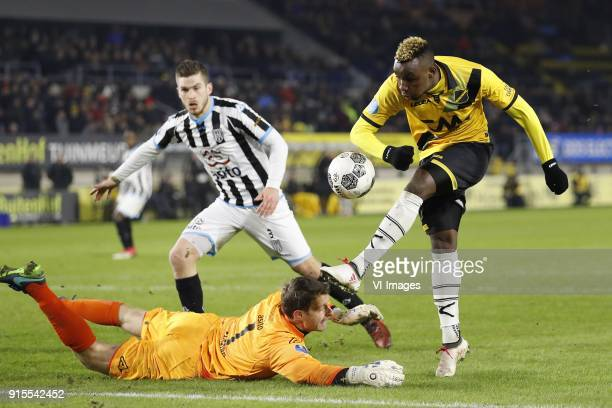 Dries Wuytens of Heracles Almelo goalkeeper Bram Castro of Heracles Almelo Thierry Ambrose of NAC Breda during the Dutch Eredivisie match between NAC...