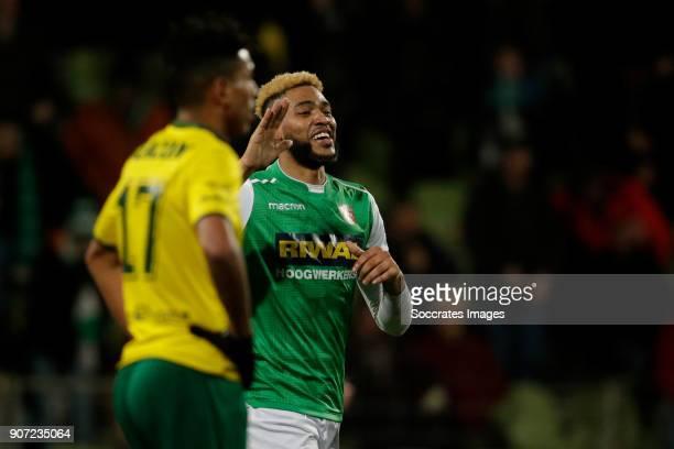 Driess Saddiki of Fortuna Sittard disappointed Jafar Arias of FC Dordrecht celebrates 10 during the Dutch Jupiler League match between FC Dordrecht v...