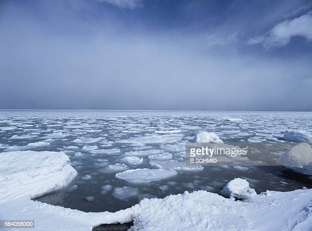 drift ice and the sea in hokkaido, japan - drift ice stock pictures, royalty-free photos & images
