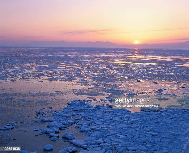 drift ice and the shiretoko mountain range at sunrise. hokkaido, japan - drift ice stock pictures, royalty-free photos & images