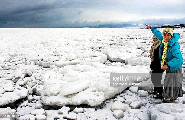 Drift ice arrive at a coast of the Shiretoko Peninsula on January 13 2015 in Shari Hokkaido Japan The arrival is three weeks earlier than last year