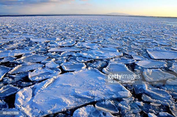 Drift ice float at Sea of Okhotsk on January 23 2014 in Abashiri Hokkaido Japan Drift ice arrived at Abashiri two days ago