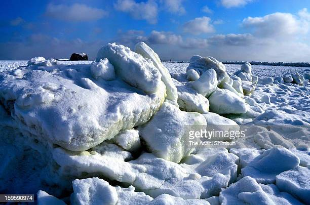 Drift ice is seen arriving at a coast of Abashiri on January 17 2013 in Abashiri Hokkaido Japan Drift ice in Sea of Okhotsk is known as one of...