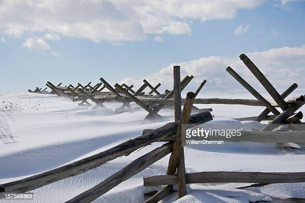 drifting snow on gettysburg battlefield - gettysburg stock photos and pictures
