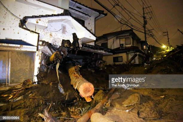 Driftwood and mud hit a ground floor of a house where two people were killed by landslide on July 7 2018 in Hiroshima Japan 51 people were killed and...