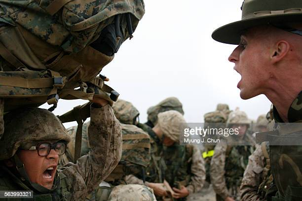 Drill instructor James Elrod right yells at a recruit to get his pack on as they get ready to resume their march on Saturday morning November 17 2007...