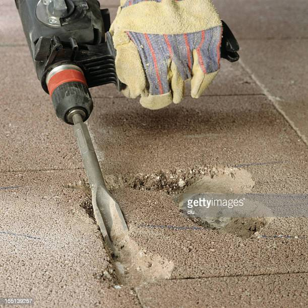 Drill removing floor concrete parts
