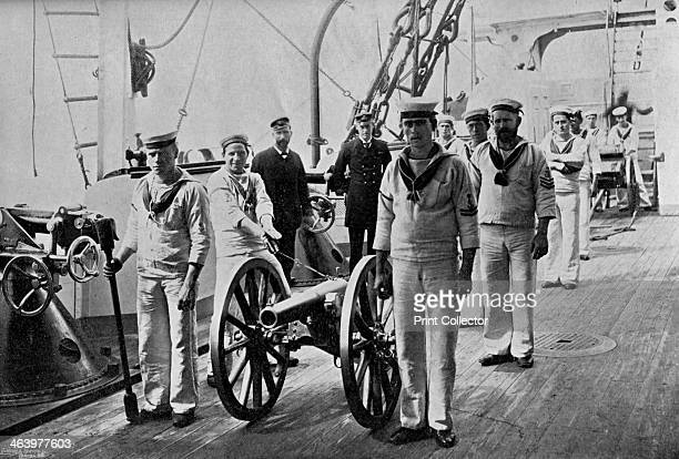 Drill with a light gun on board HMS 'Camperdown' 1895 HMS 'Camperdown' was an Admiral class battleship launched in 1885 A print from The Navy and...