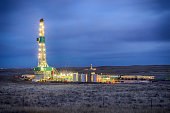 Drilling Fracking Rig at Night