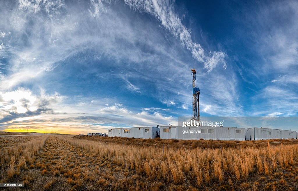 Drilling Fracking Rig Panoramic : Stock Photo