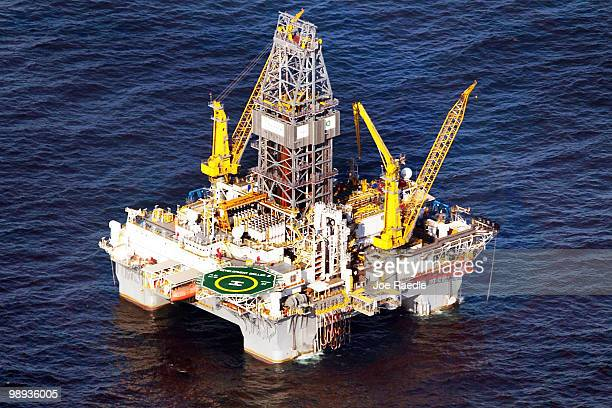 A drilling platform is seen near the site where the Deepwater Horizon oil platform sank as work continues to contain the oil leak on May 9 2010 in...