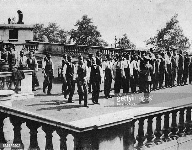 Drilling Recruits on the roof of Somerset House London' 1914 From The Manchester Guardian History of the War 1914 Vol I [John Heywood Ltd London...