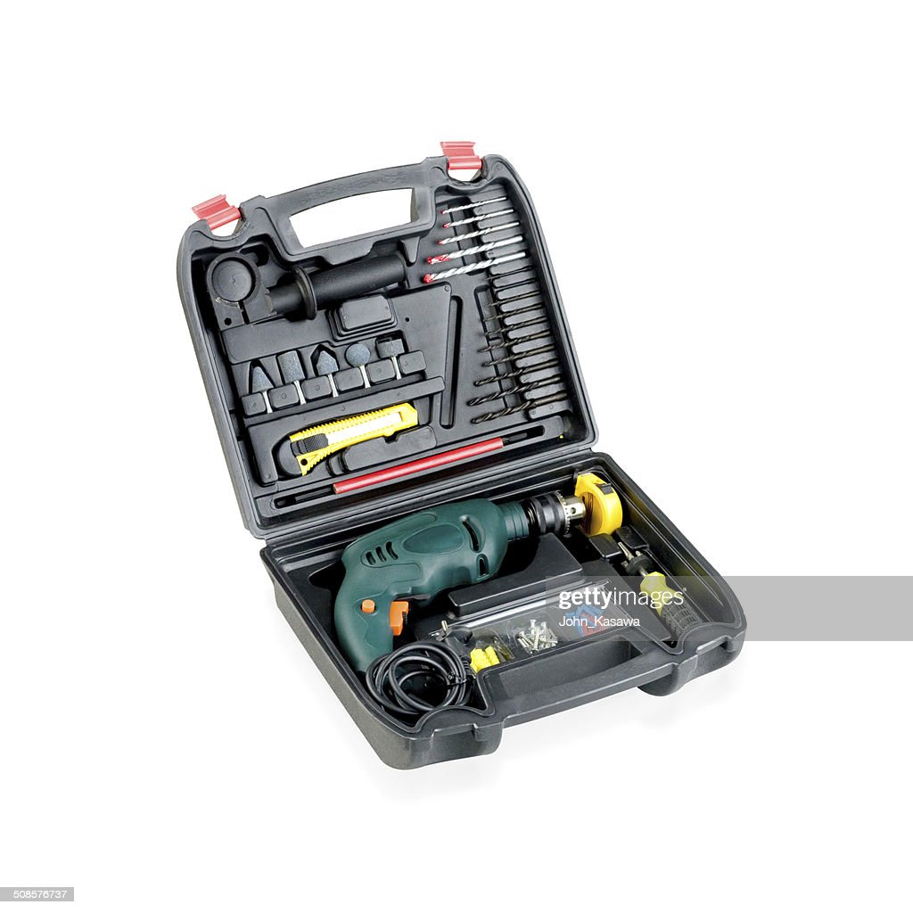Drilling screwdriver and tools in the box : Stock Photo