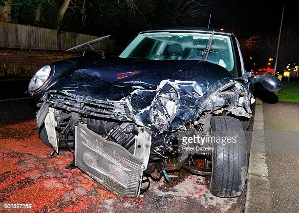 drink and drive fatal crashed car - fatal car accident stock pictures, royalty-free photos & images