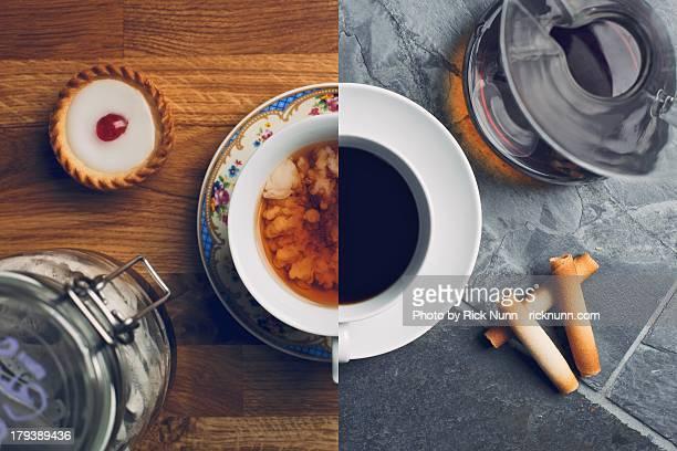 I drink coffee, she takes tea