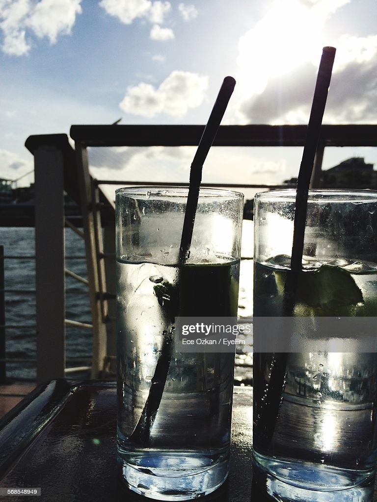 Drink Served In Drinking Glass At Seaside : Stock Photo