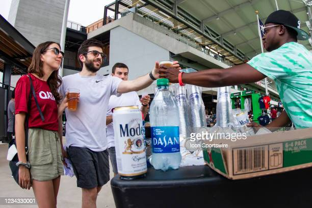 Drink vendor interacts with fans during the Gold Cup semifinal match between the United States and Qatar on Thursday July 29th, 2021 at Q2 stadium in...