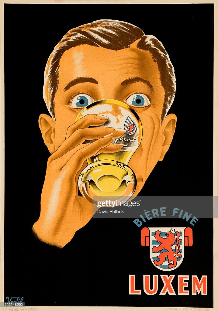 Drinker enjoys Luxem Belgian beer ca 1920s