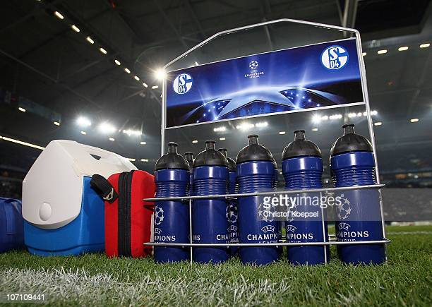 Drinking bottles of Schjalke are seen during the UEFA Champions League group B match between FC Schalke 04 and Olympique Lyonnais at Veltins Arena on...