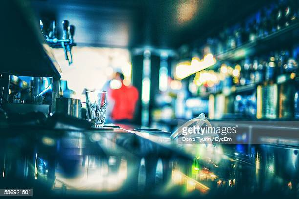 Drinking Glass At Bar Counter In Restaurant
