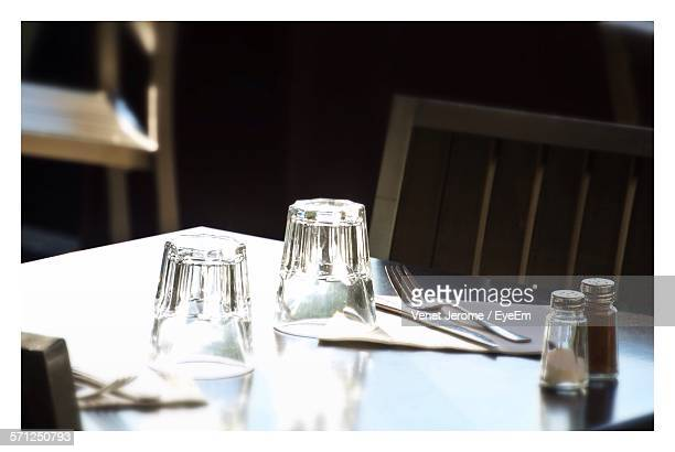 Drinking Glasses By Fork On Table