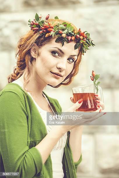 Drinking rosehip juice
