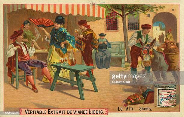 Drinking sherry in Spain Liebig card Wine 1895
