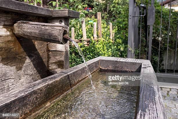 drinking trough made of wood in bavaraia