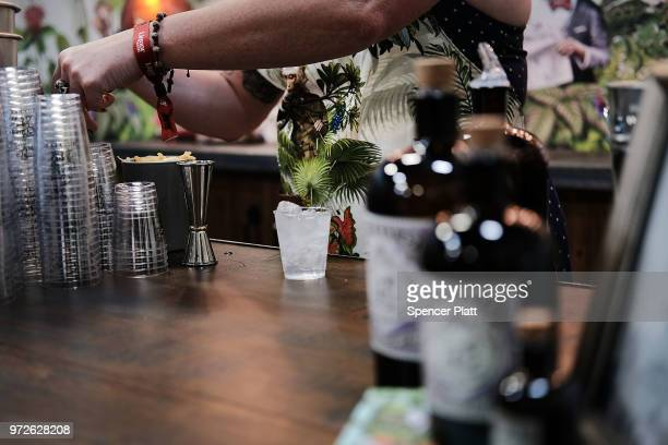 Drinks are prepared at Bar Convent Brooklyn an international bar and beverage trade show at the Brooklyn Expo Center on June 12 2018 in the Brooklyn...