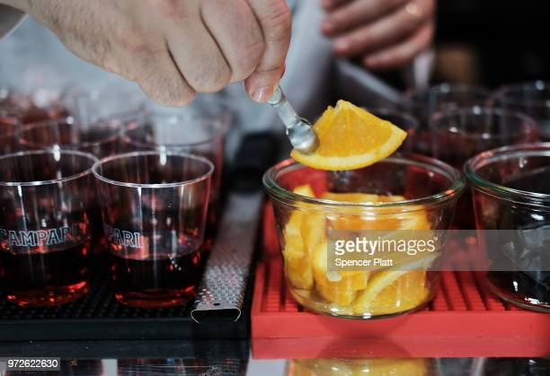 Drinks are prepared with Campari liqueur at Bar Convent Brooklyn an international bar beverage trade show at the Brooklyn Expo Center on June 12 2018...