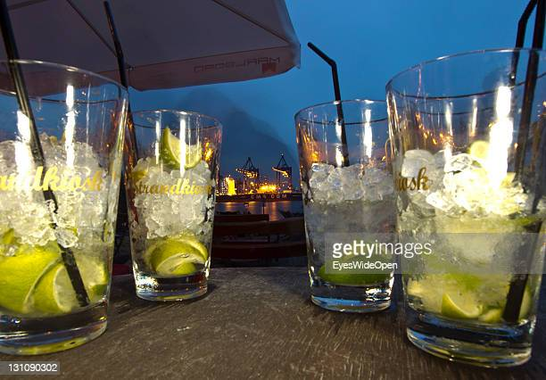 Drinks at the bar and restaurant Strandperle in autumn at the beach Ovelgonne on the river Elbe on September 16 2011 in Hamburg GermanyThe beach has...