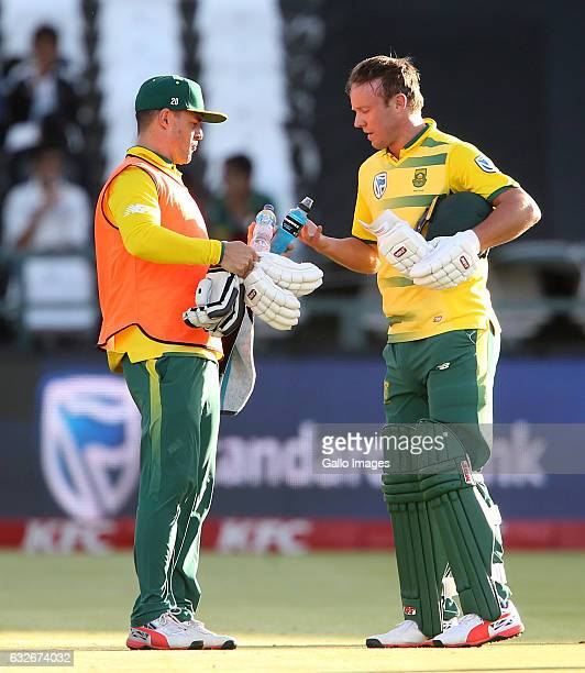 Drinks during the 3rd KFC T20 International between South Africa and Sri Lanka at PPC Newlands on January 25 2017 in Cape Town South Africa
