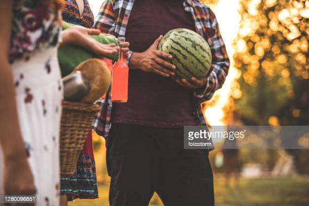 drinks, food and fresh watermelon for our picnic - mexican picnic stock pictures, royalty-free photos & images