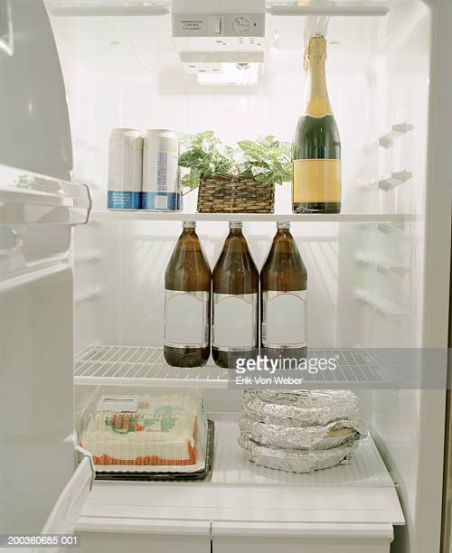 Drinks, food containers, cake and plant inside refrigerator