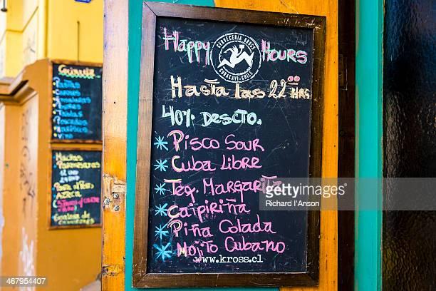 Drinks list blackboard at bar on Concepcion Hill