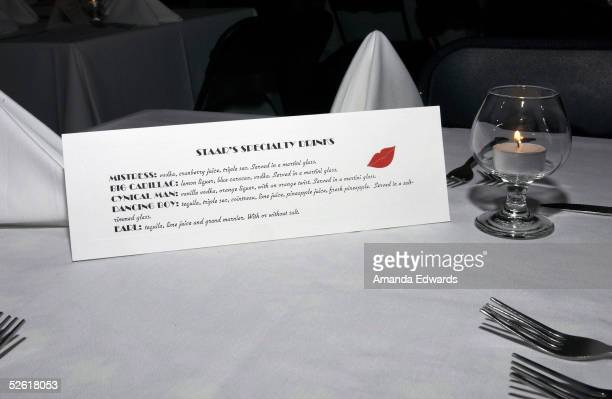 A drinks menu sits on display at the opening night of Leslie Zemeckis's burlesque revue act Staar at The Conga Room on April 11 2005 in Los Angeles...