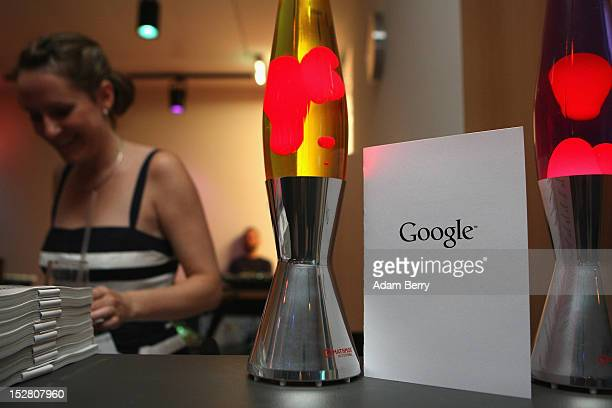A drinks menu with the Google logo sits between two lava lamps on September 26 2012 at the official opening party of the Google offices in Berlin...