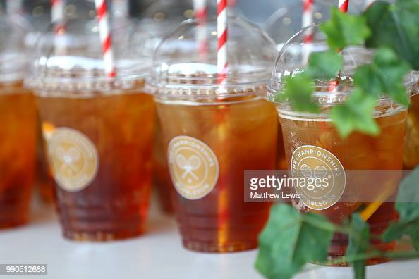 Drinks of Pimms for sale on day two of the Wimbledon Lawn Tennis Championships at All England Lawn Tennis and Croquet Club on July 3 2018 in London...