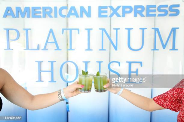 Drinks on display at the American Express Platinum House at the Avalon Hotel Palm Springs on April 14 2019 in Palm Springs California