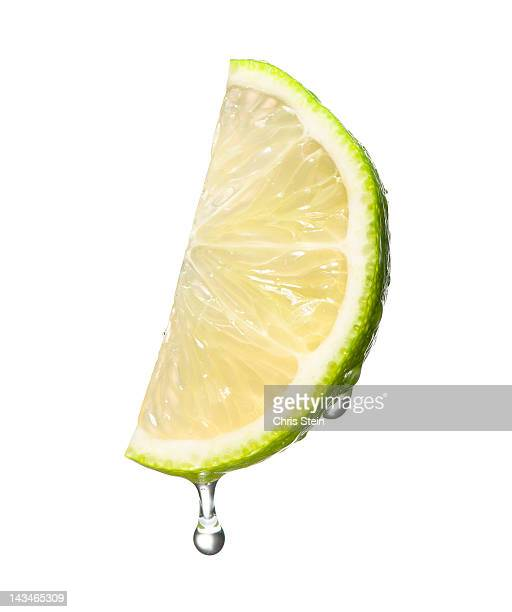 Dripping wet lime wedge